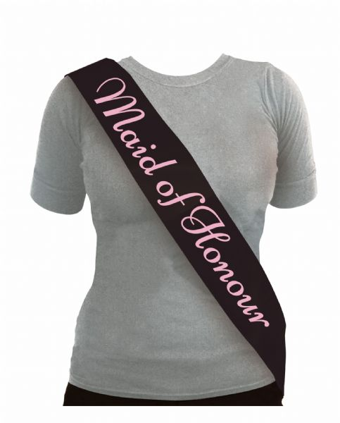 Black & Pink Maid of Honour Sash